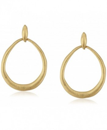 The SAK Hinged Doorknocker Gold Drop Earrings - C612N15Y3J6
