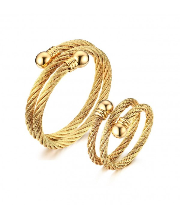 Vnox Stainless Steel Double Helix Wire Bracelet and Ring Jewelry Set for Women-Gold Plated - CC12MF5L0AH