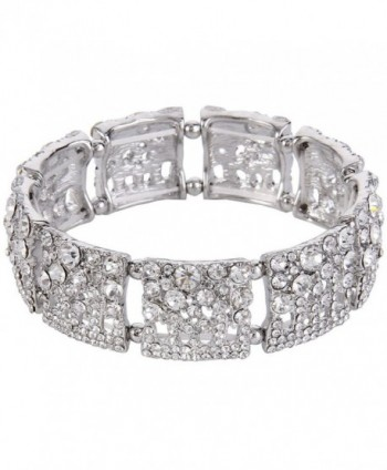 EVER FAITH Women's Austrian Crystal Wedding Square Shape Elastic Stretch Bracelet Clear Silver-Tone - C212G49WVSL