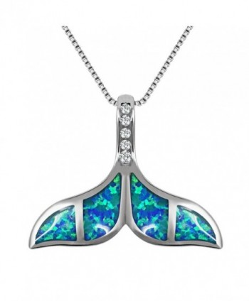 VEMAI Silver Necklaces with Blue Opal Whale Tail Pendant Chain for Women - Blue-White - CI189N69HW2