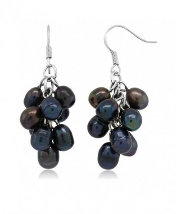 Black Grape Cultured Freshwater Pearl Cluster Hook Earrings - CP1173RG26B