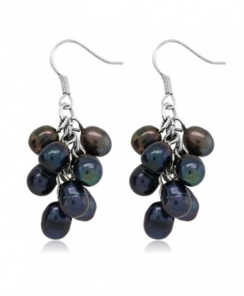 Black Cultured Freshwater Cluster Earrings in Women's Drop & Dangle Earrings