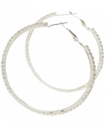 Earrings - Silver Tone Crystal Hoops - Kiki's Silver Hoop Holla - CV11BX6GXW1
