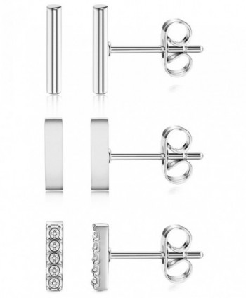ORAZIO 3 Pairs 20G Stainless Steel Mini Bar Earring Line Ear Studs Stick Stud Earrings For Women and Men - CK188CRRYKK