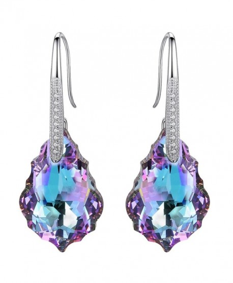 EleQueen 925 Sterling Silver CZ Baroque Drop Hook Earrings Made with Swarovski Crystals - Vitrail Light - CQ120HT3JL7