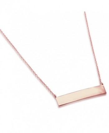 "Sterling Silver Engraveable Bar Necklace Necklace 16-18"" Long THREE COLORS - CK17Y4Y58HX"