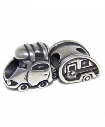"Stainless Steel ""Car Pulling a Camper"" Charm Bead 508 for European Snake Chain Bracelets - C317YD4Y7MC"