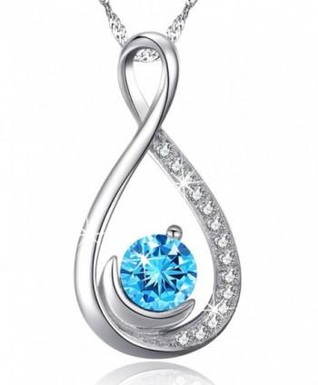 "Infinity Aquamarine Swarovski Birthstone Anniversary - """"""Forever Love"""" Infinity Half Moon Necklace"" - CB12MXYVQSZ"