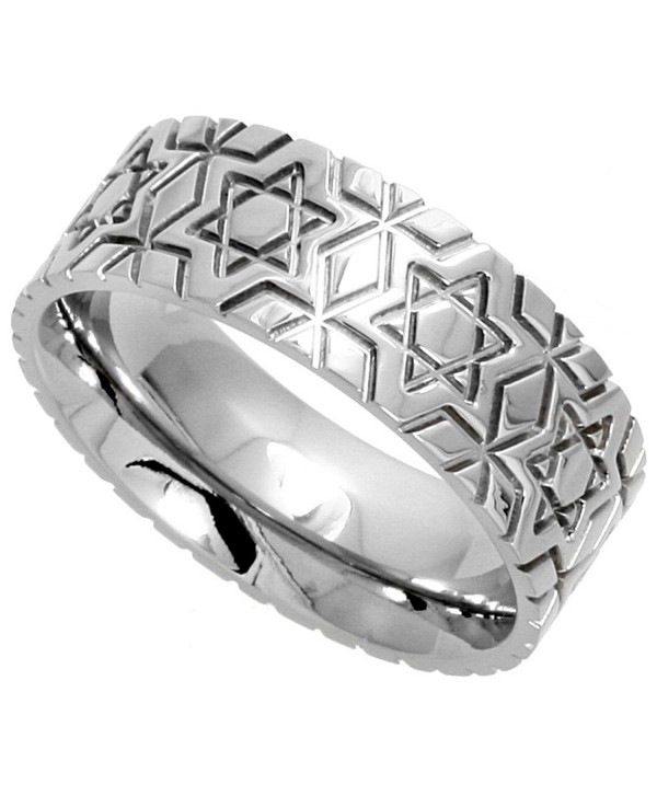 Surgical Stainless Steel 8mm Wedding Band Ring Star Of David Pattern Comfort-Fit- sizes 6 - 14 - CA1129W0NCJ