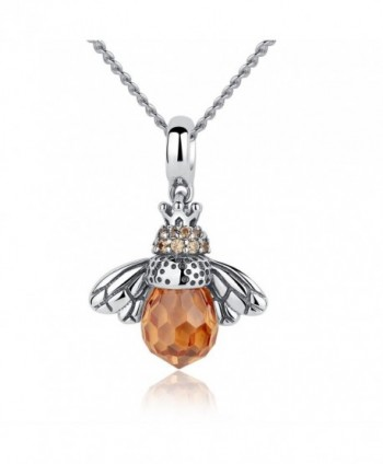 YAXING 925 Oxidized Sterling Silver Queen Honey Bee Little Bumblebee Pendant Necklace (honeybee 2) - CE182LM2L43
