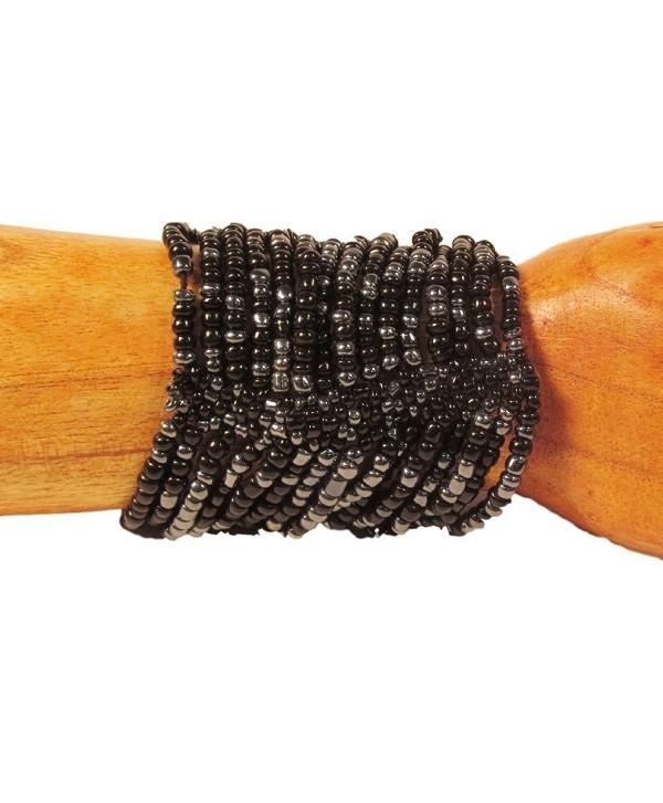 Beaded Cuff Stretch Midnight Color Cleopatra Glass Ceramic Handmade Bracelet Bali Bay Trading Co - C2120LUJ1YL