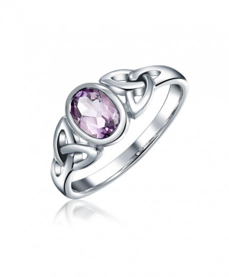 Bling Jewelry Open Celtic Triquetra Amethyst Sterling Silver Ring - CO116QPON0N