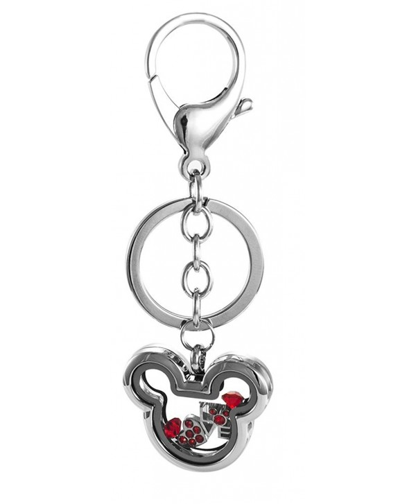 Floating Mickey Inspired No Stone Locket with Choice or 6 Charms by BG247 - No Stone Keychain - CX12HJSC9PB