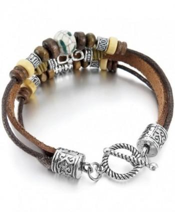 INBLUE Ceramic Bracelet Elephant Embossed in Women's Cuff Bracelets