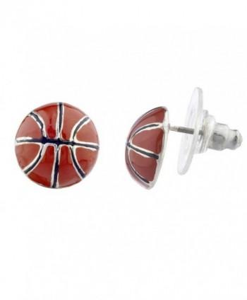 Lux Accessories Silvertone Brown Enamel Sports Basketball Novelty Post Earrings - CV12NH68LQO