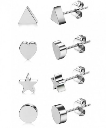 JOERICA Pairs Stainless Earrings Silver tone in Women's Stud Earrings