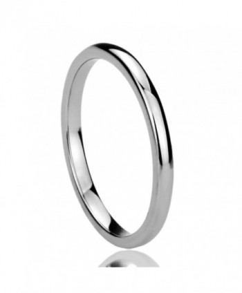 2MM Titanium Womens Rings High Polished Classy Domed Comfort Fit Wedding Bands - C3110NC0SP9