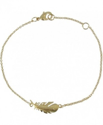 Les Poulettes Jewels - Gold Plated Bracelet with Bird Feather - C711FT2FOWZ