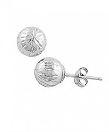 14K White Gold Diamond Cut Ball Stud Earring - C012GSPH5OV