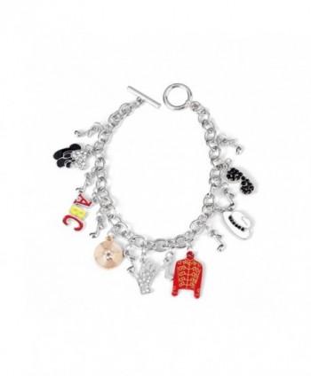 Michael Jackson Themed Metal/Enamel Silvertone Charm Bracelet - C4186DUGHYM