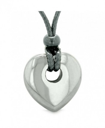 Amulet Lucky Heart Donut Shaped Charm Hematite Gemstone Pendant Spiritual and Healing Powers Necklace - CX128QHP8D9