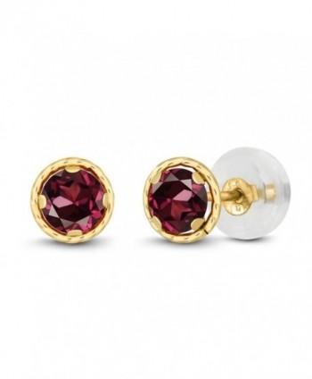 0.74 Ct Round 4mm Red Rhodolite Garnet 14K Yellow Gold Stud Earrings - C511EEV8WYJ