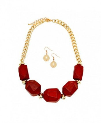 Rosemarie Collections Women's Chunky Wooden Bead Statement Necklace Jewelry Set - Red - C912LZB6MMT