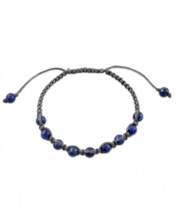 NOVICA Dyed Lapis Lazuli Beaded Macrame Shamballa Bracelet- Adjustable Length- 'Truth and Prayer' - CI127WIF0QN