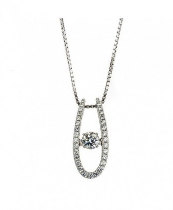 "NANA ""U"" Shape Dancing Stone Pendant S-Silver & Swarovski CZ with 0.8mm 22"" Adjustable Box Chain - CE12OC9MU2N"