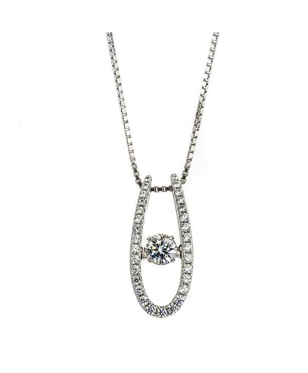 "NANA ""U"" Shape Dancing Stone Pendant S-Silver & Swarovski CZ with 0.8mm 22"" Adjustable Box Chain - CE12OC9MU2N"