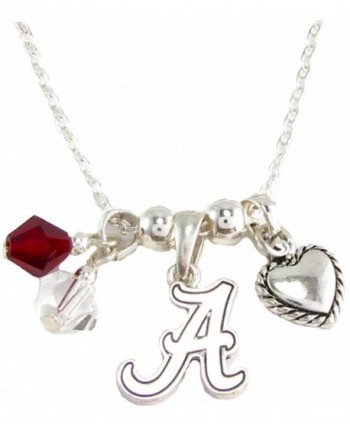 Alabama Crimson Tide Red Austrian Crystal Heart Logo Silver Chain Necklace UA - CV11QZV7JVN
