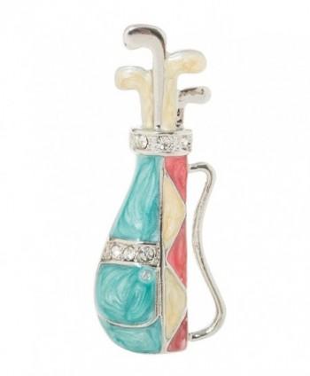 "Golf Club Bag Brooch Pin 1.6"" with Crystal Accents - C7187RITTZN"