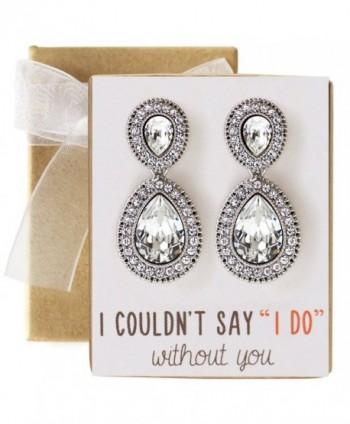 Wedding Bridesmaids Gift- Crystal Glass Tear Drop Earrings in Silver- Gold- Blue- Green - CP17YYI50AH