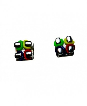 """Orthodontic Bracket Looking Earrings with 4 Colored Ties and Custom Jewelry Box (Silver) - """"  Silver """" - CX11CYMAAK7"""