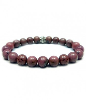 RHODONITE 8mm Round Genuine Crystal Gemstone Beaded Bracelet on Elastic Cord - C212NT5TC2T