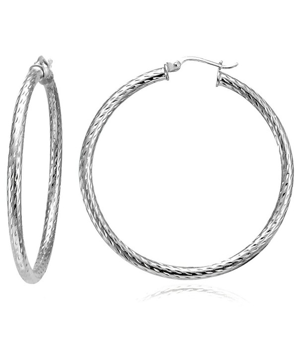 Hoops & Loops Sterling Silver 2.5mm Diamond-Cut Large Round Hoop Earrings - CO12CMU5K5H