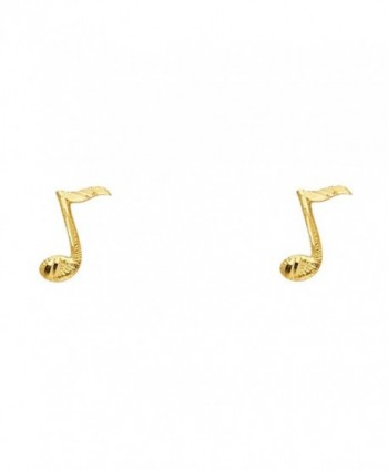 14K Yellow Gold Music Note Stud Earrings (4 X 11mm) - CV125HEA1MB