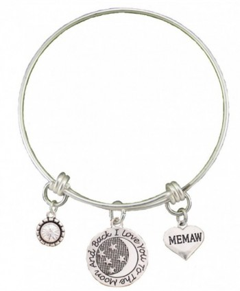 Memaw Love You To The Moon Silver Wire Adjustable Bracelet Heart Jewelry Gift - CK12BC1ILR1