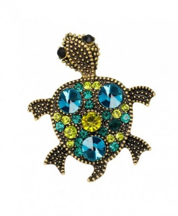 Top Cheer 2pcs Vintage Style Colorful Rhinestone Crystal Drip Tortoise Brooch Pin Animal Jewelry - A - C8185RN7YU3