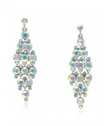 Lia Newyork Iridescent Austrian Crystal Bridal- Prom- Wedding Drop Dangle Earrings (EF00175AB) - CD11AEHUTXN