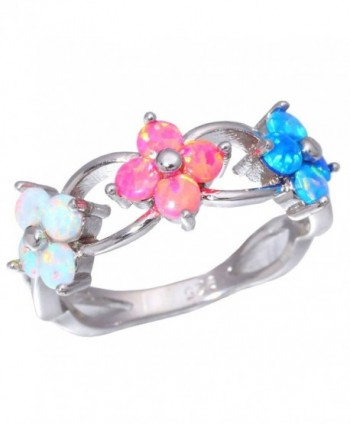 CiNily Blue Pink White Fire Opal Rhodium Plated Women Jewelry Gemstone Ring Size 5-11 - C717YSUN0GR