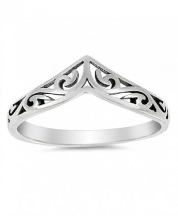Filigree Celtic Chevron Thumb Ring 925 Sterling Silver Victorian Band Sizes 3-12 - CS17AAOL4X8