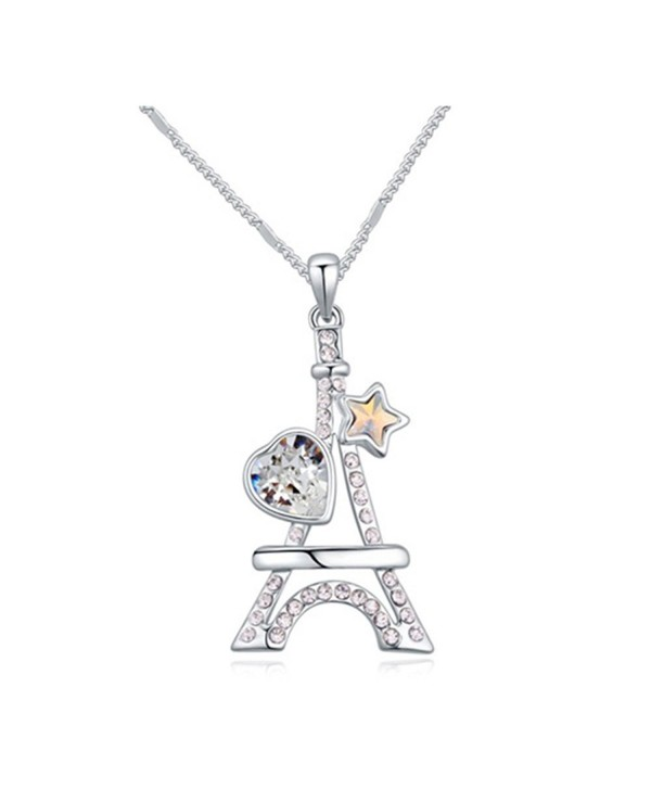 White Gold Plated Eiffel Tower Heart Star Cut AAA Swarovski Elements Clear Austrian Crystal Pendant Necklace - CY120IA2Y1F