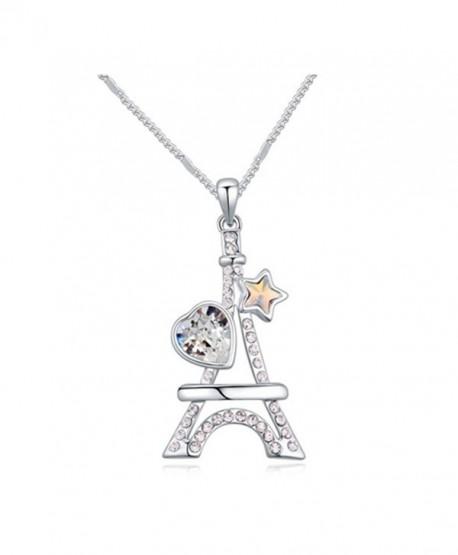 White Gold Plated Eiffel Tower Heart Star Cut AAA Swarovski Elements Clear Austrian Crystal Pendant Necklace - CY120IA2Y1F