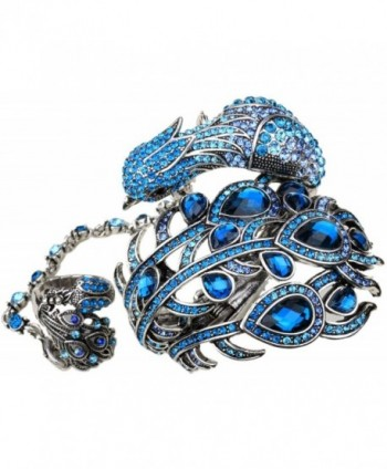 YACQ Jewelry Women's Crystal Peacock bangle bracelet attached slave ring bling jewelry - Blue - CY12GEUBR8P