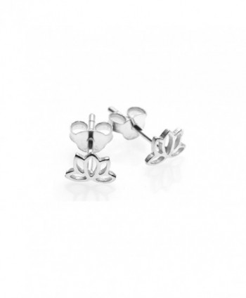 925 Sterling Silver Tiny Open Lotus Post Stud Earrings 12 mm - Nickel Free - CM11M2CLNPR