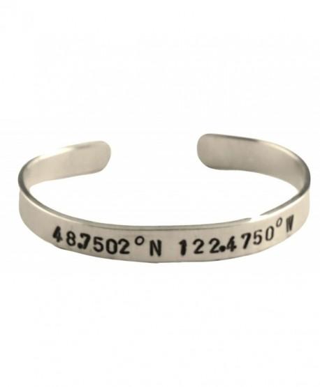 "Latitude Longitude Custom Cuff Hand Stamped Aluminum Bracelet 1/4"" - CO11JLWBX65"