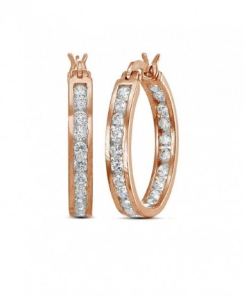 Flashed Cubic Zirconia Channel Set Earrings - Rose Gold Flashed - CH17YTTIMZA
