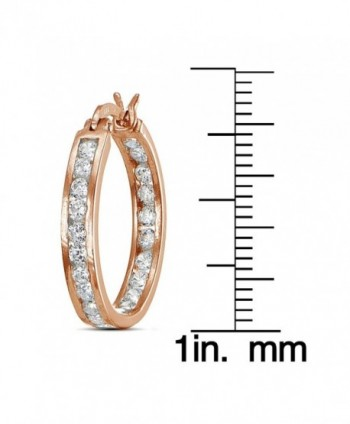 Flashed Cubic Zirconia Channel Set Earrings in Women's Hoop Earrings