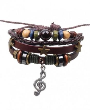 SusenstoneThree Stars Musical Note Pendant Design Knit Bracelet - CK1296FLC3Z